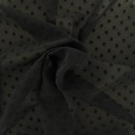 Tissu mousseline plumetis - noir x 50 cm