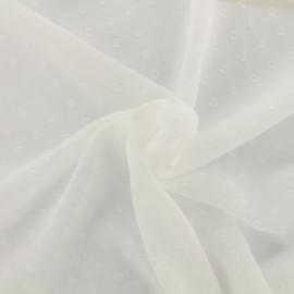 Tissu mousseline plumetis - blanc x 50 cm