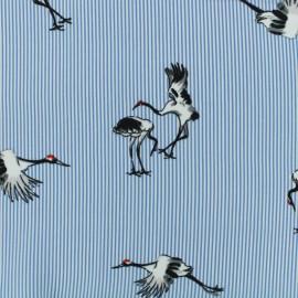 Tissu polyester effet mat Painted crane - bleu x 20cm