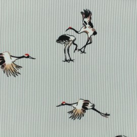 Tissu polyester effet mat Painted crane - gris x 20cm