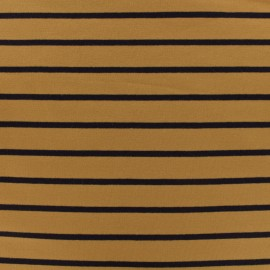 Sweat léger jersey fabric navy stripes - mustard background x 10cm
