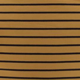 Tissu Sweat léger rayé marine - fond moutarde x 10cm