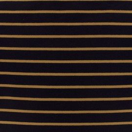 Sweat léger jersey fabric mustard stripes - navy background x 10cm