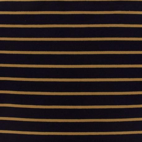 Tissu Sweat léger rayé moutarde - fond marine x 10cm
