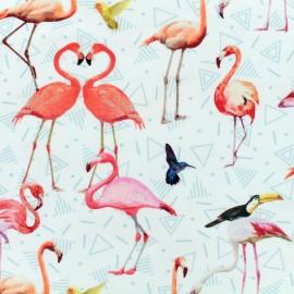 Tissu Oeko-Tex coton jersey Poppy flamingo - multi x 25 cm