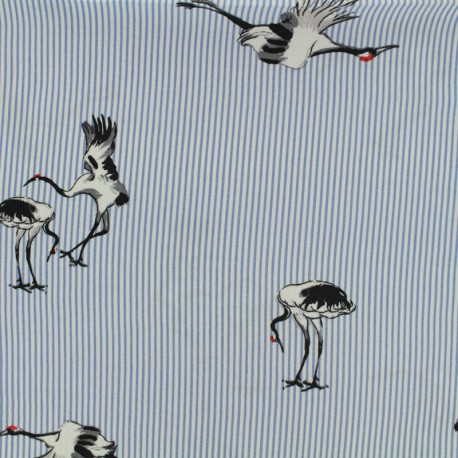 Viscose fabric Painted crane - blue x 20 cm