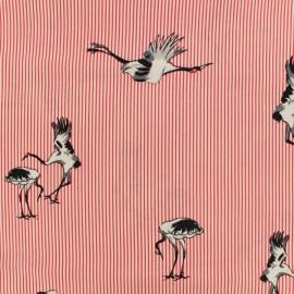 Tissu viscose Painted crane - rouge x 20 cm