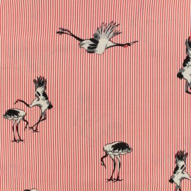 Viscose fabric Painted crane - red x 20 cm