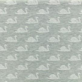 ♥ Coupon 200 cm X 150 cm ♥ Oeko Tex Jersey cotton fabric Poppy Swimming swan - gris