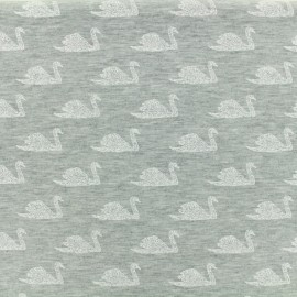 Tissu coton jersey Poppy Swimming swan - grey x 10 cm