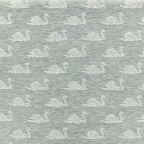 Oeko Tex Jersey cotton fabric Poppy Swimming swan - gris x 10 cm
