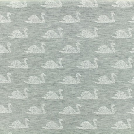 Tissu Oeko-Tex coton jersey Poppy Swimming swan - grey x 10 cm