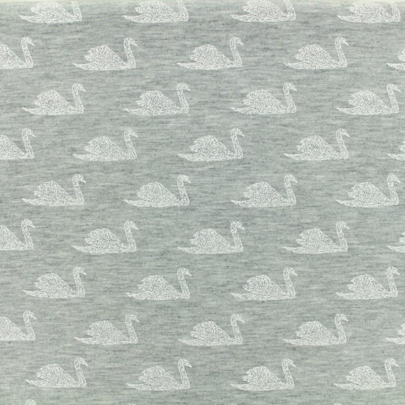 080d9e17caa Oeko Tex Jersey cotton fabric Poppy Swimming swan - gris x 10 cm