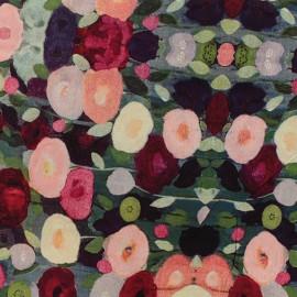 Tissu viscose Painted flowers - rose x 10 cm