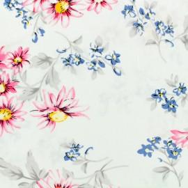 Tissu viscose Bright garden - blanc x 10 cm