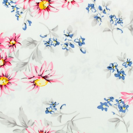 Viscose fabric Dark garden - white x 10 cm