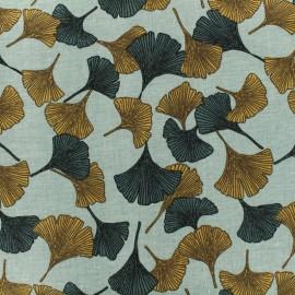 Tissu Toile de coton Gingko Linasal by Penelope® - paon et safran x 10cm
