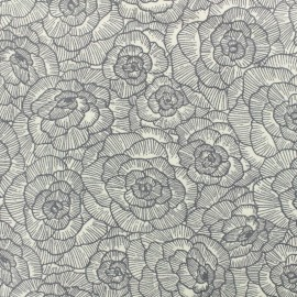Cotton canvas fabric Peonie Linasal by Penelope® - grey x 20cm