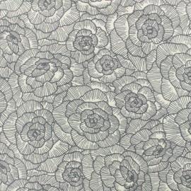 Tissu Toile de coton Pivoine Linasal by Penelope® - gris x 10cm