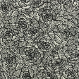 Cotton canvas fabric Peonie Linasal by Penelope® - charcoal x 20cm