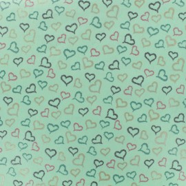 Cotton poplin fabric Poppy Iridescent hearts - aqua green x 10cm