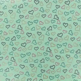 Tissu Coton popeline Poppy Coeurs irisés - vert d'eau x 10cm