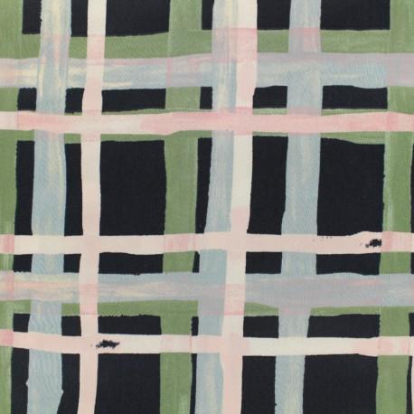 Oeko-Tex cotton poplin satin fabric grids - green and pink x 10cm