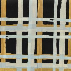 Oeko-Tex cotton poplin satin fabric grids - safran and sky x 10cm