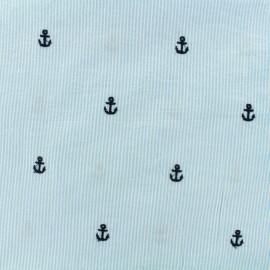 Tissu Seersucker coton ancre brodée - ciel x 10cm