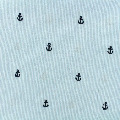 Seersuker fabric embrodery anchor - sky x 10cm