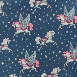 Tissu Oeko-Tex Poppy Fairytail unicorn - denim x 10cm