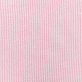 Tissu Seersucker coton fine rayure - rose x 10cm