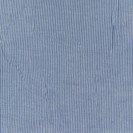 Seersucker cotton fabric little stripe - blue x 10cm