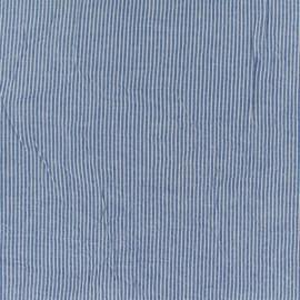 Tissu Seersucker coton fine rayure - bleu x 10cm