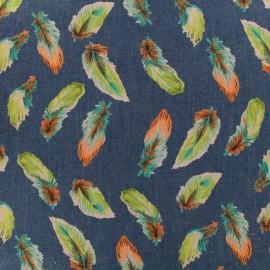 Tissu jean fin plume - bleu x 10cm