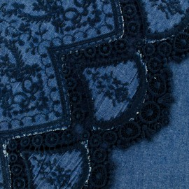 Scalloped and embroidered denim fabric Bastille - blue x 10cm