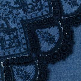 Tissu denim brodé festonné Bastille - bleu x 10cm