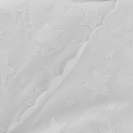 Stella Enbroidered scalloped cotton fabric - white x 10 cm