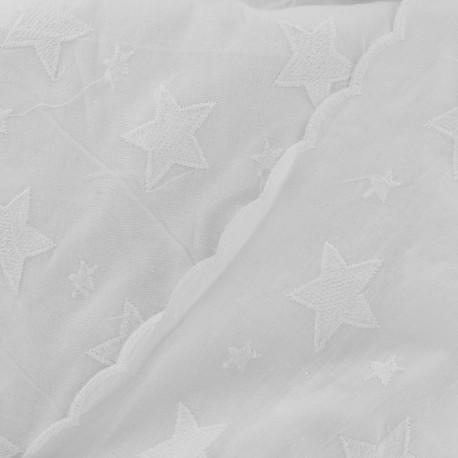 Tissu coton brodé festonné stella  - blanc x 10 cm