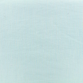 Seersucker cotton fabric little stripe - blue sky x 10cm