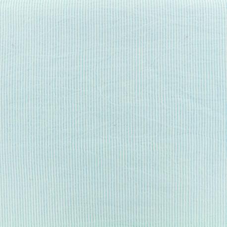 Seersucker cotton fabric little stripe - blue sky x 10cm