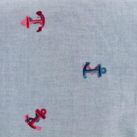 Tissu chambray brodé In the Navy - bleu x 10cm