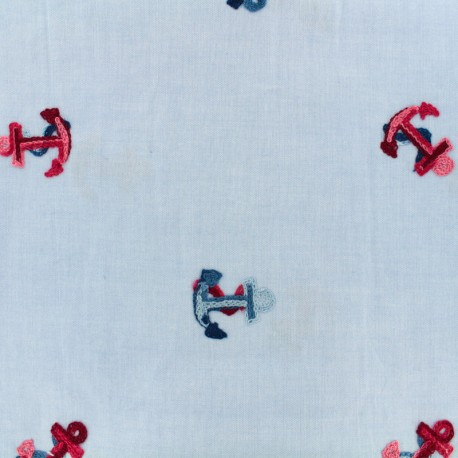 In the navy embroidered chambray fabric - sky blue x 10cm