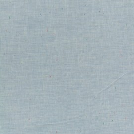 Tissu chambray léger Moucheté - bleu x 10cm