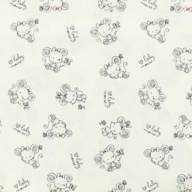 Tissu popeline de coton Oeko-Tex Poppy baby mouse - blanc x 10cm