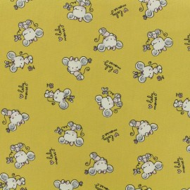 ♥ Coupon 50 cm X 150 cm ♥  Poppy cotton fabric Baby mouse - mustard
