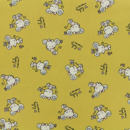 Poppy Oeko-Tex cotton fabric Baby mouse - mustard