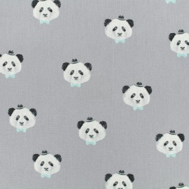 Tissu popeline de coton Oeko-Tex Poppy Pretty panda - gris x 10cm