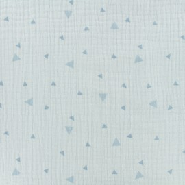 ♥ Coupon tissu 20 cm X 140 cm ♥ double gaze de coton triangle - ciel