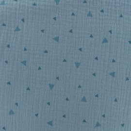 Tissu double gaze de coton triangle - bleu x 10cm